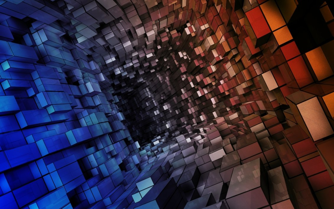 Download Wallpaper Abstract tunnel built of parallelipipeds