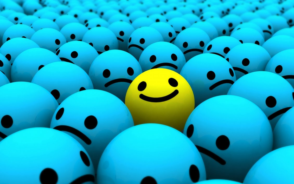 Download Wallpaper Smiley face - blue sad and yelow happy