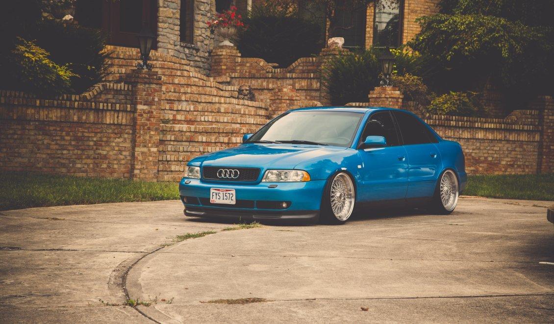 Blue Audi A4 Sedan Tuning