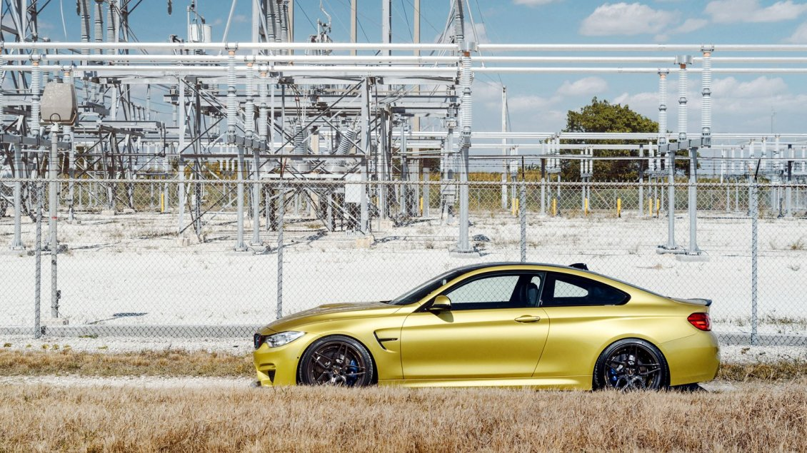 Download Wallpaper BMW M4 gold 2014 M Power