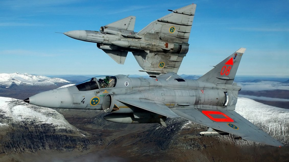 Download Wallpaper Two Military Saab Viggen 37 in the sky