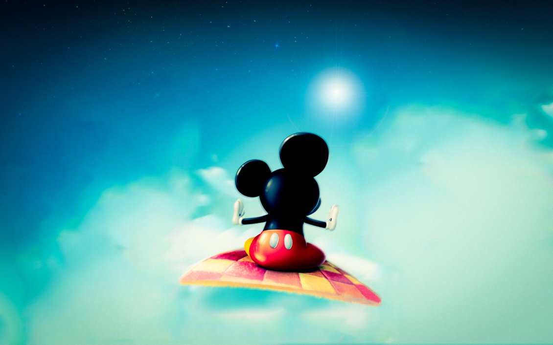 mickey mouse in space with a carpet