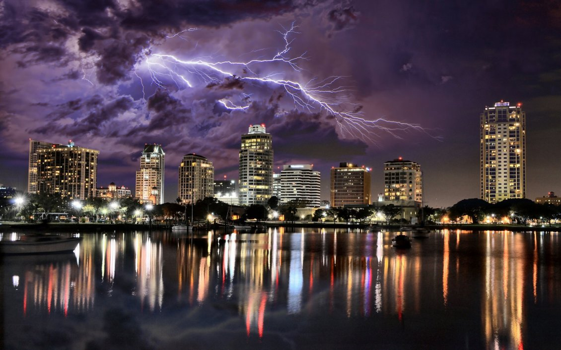 Beach Ford Service >> Lightning over city HD
