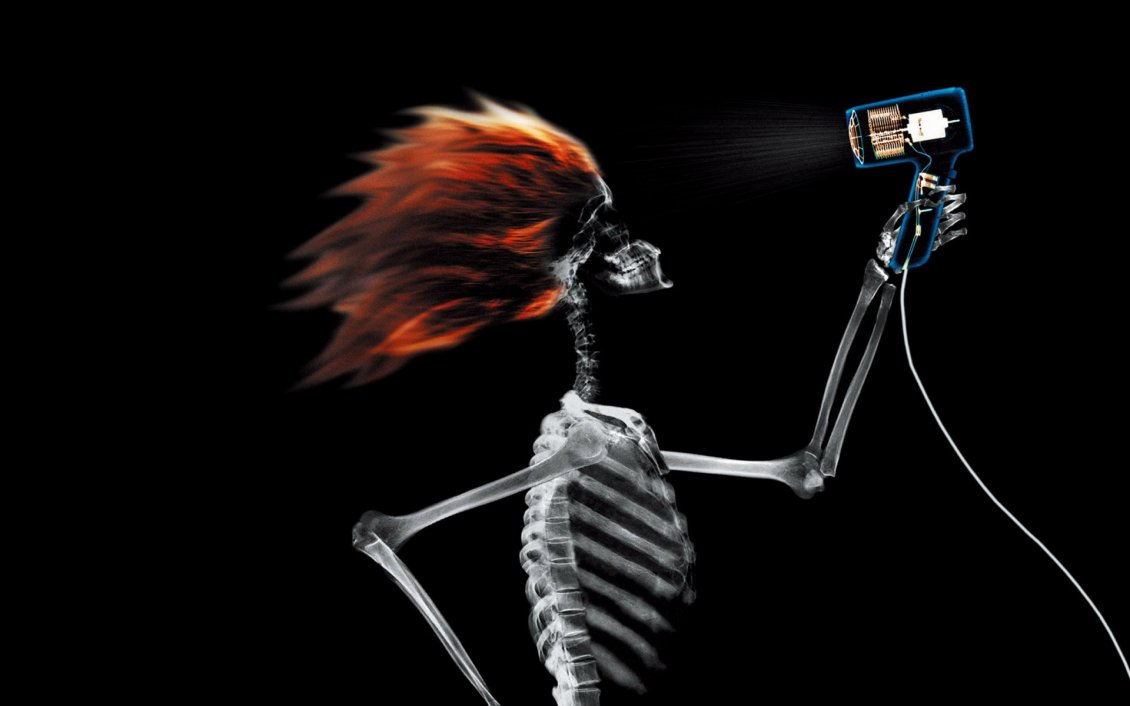Download Wallpaper Funny skeleton dry his hair