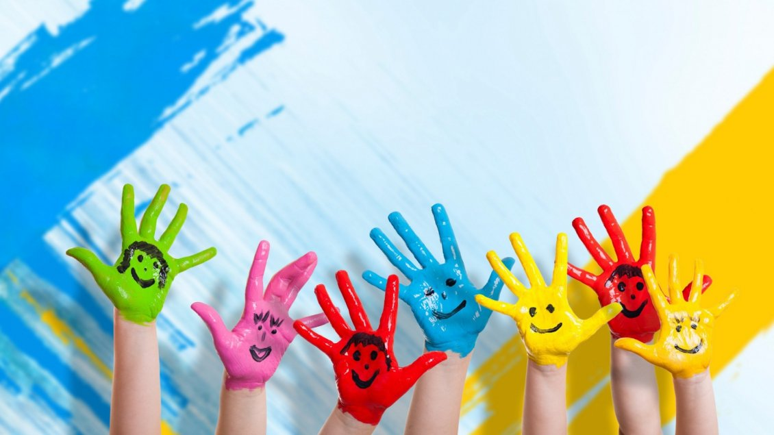 Download Wallpaper Funny coloured and happy hands - Childhood time