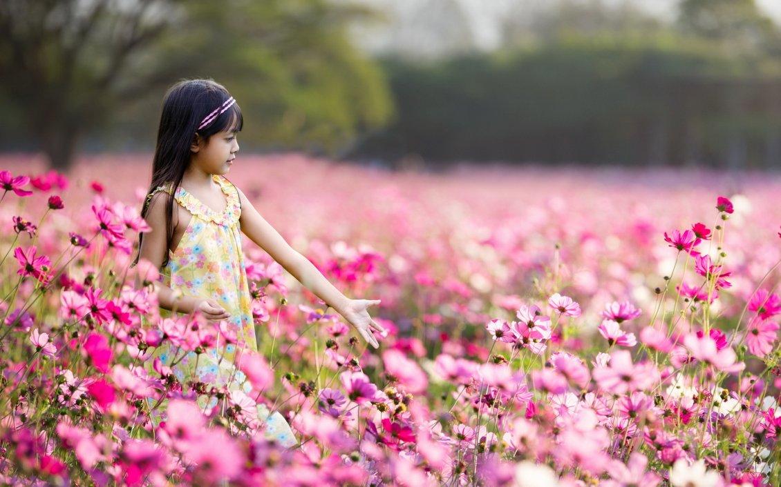 Little Girl Walking Through A Field Full Of Pink Flowers