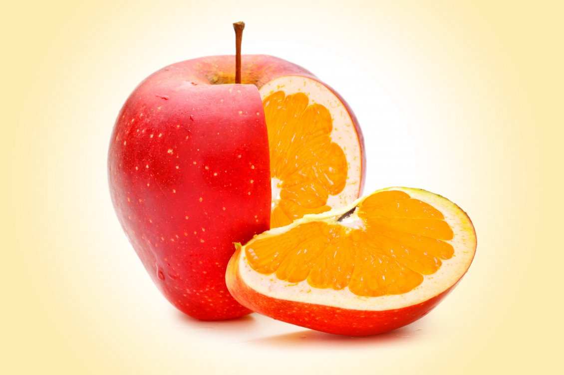 Download Wallpaper Half apple, half orange HD