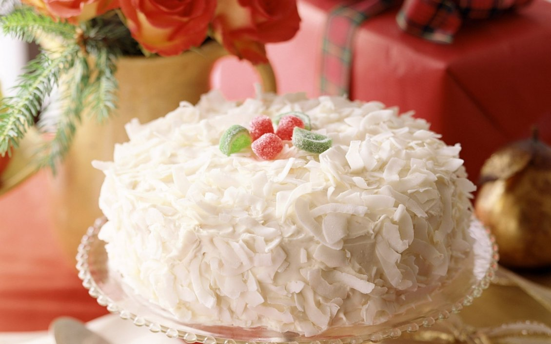 Download Wallpaper Cake with white chocolate and jelly