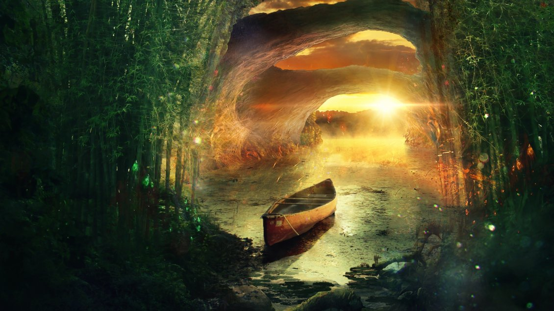 Download Wallpaper Fantastic forest, boat on the water