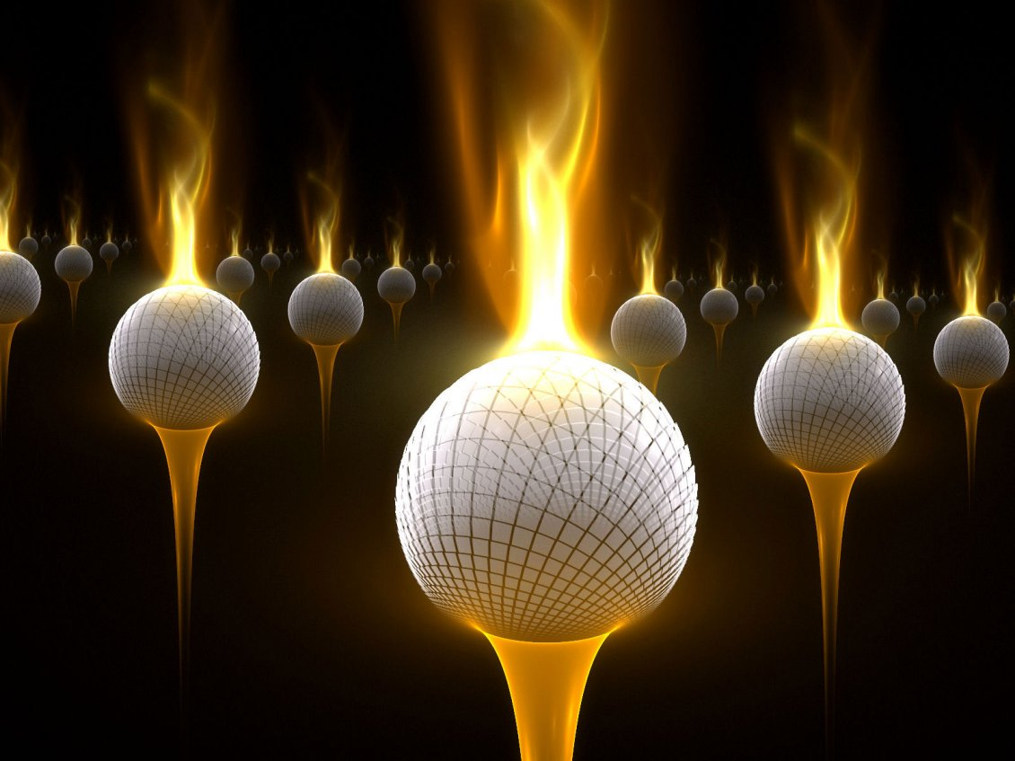 Download Wallpaper Abstract golf balls with flames