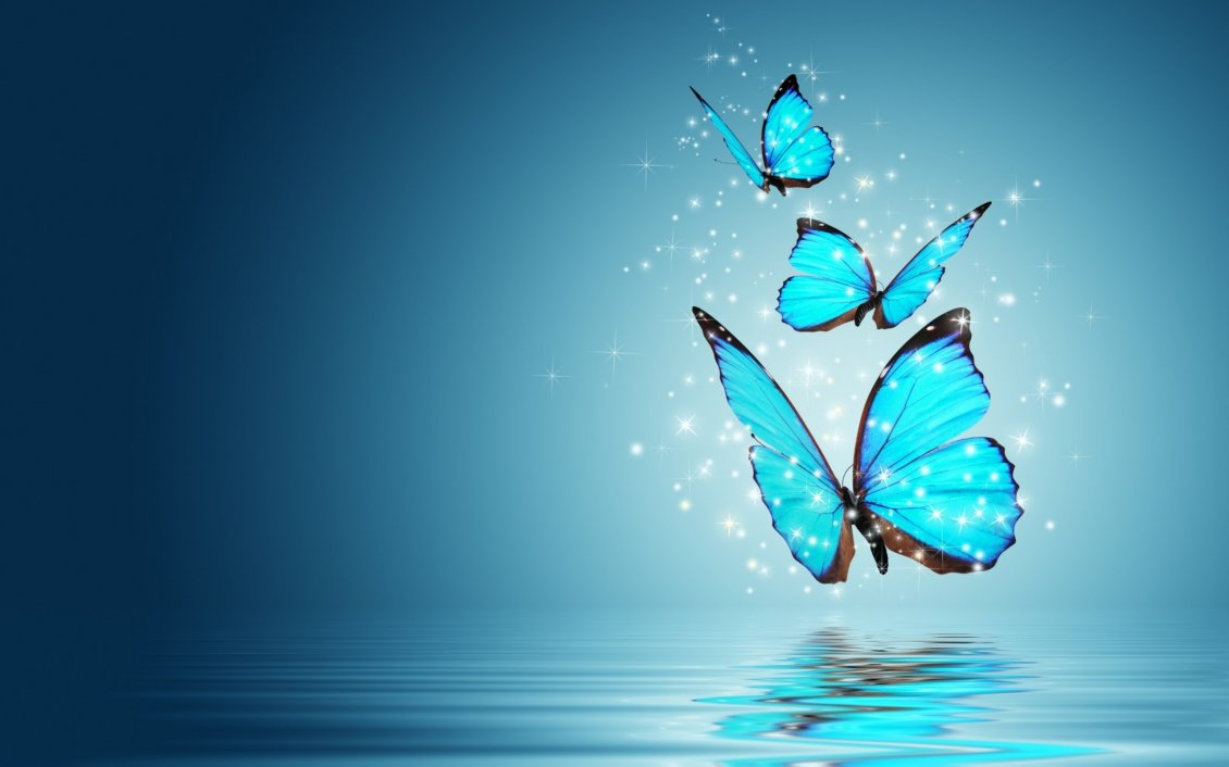 Download Wallpaper Three blue and magic butterflies