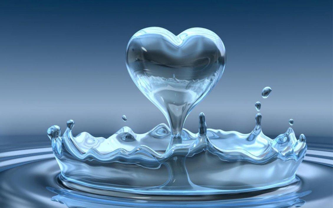 The Water Drop In Heart Shape