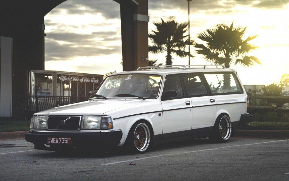 Old White Volvo 200 Wagon