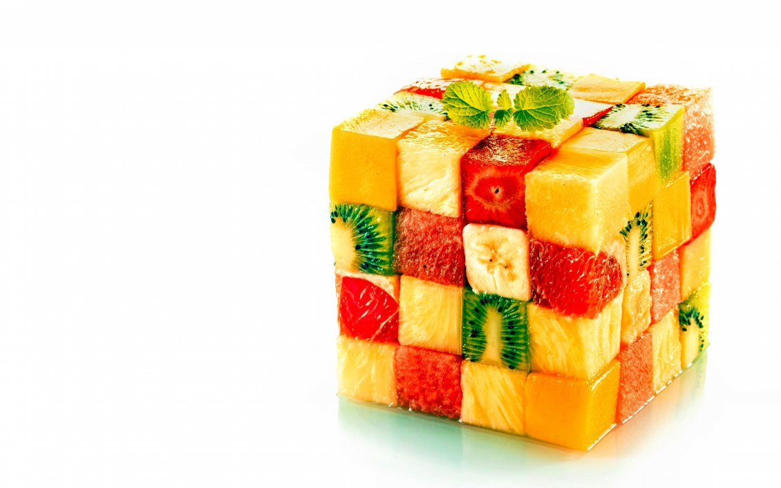 A Cube Made Of Pieces Of Fruits