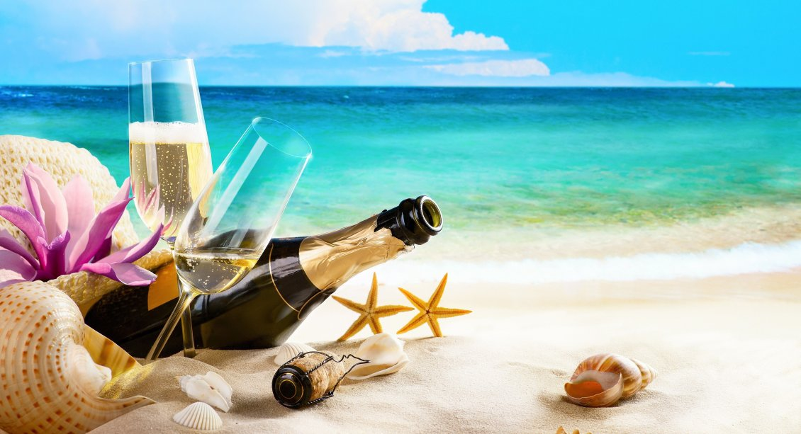 Download Wallpaper A champagne bottle and two glasses in the sand on the beach