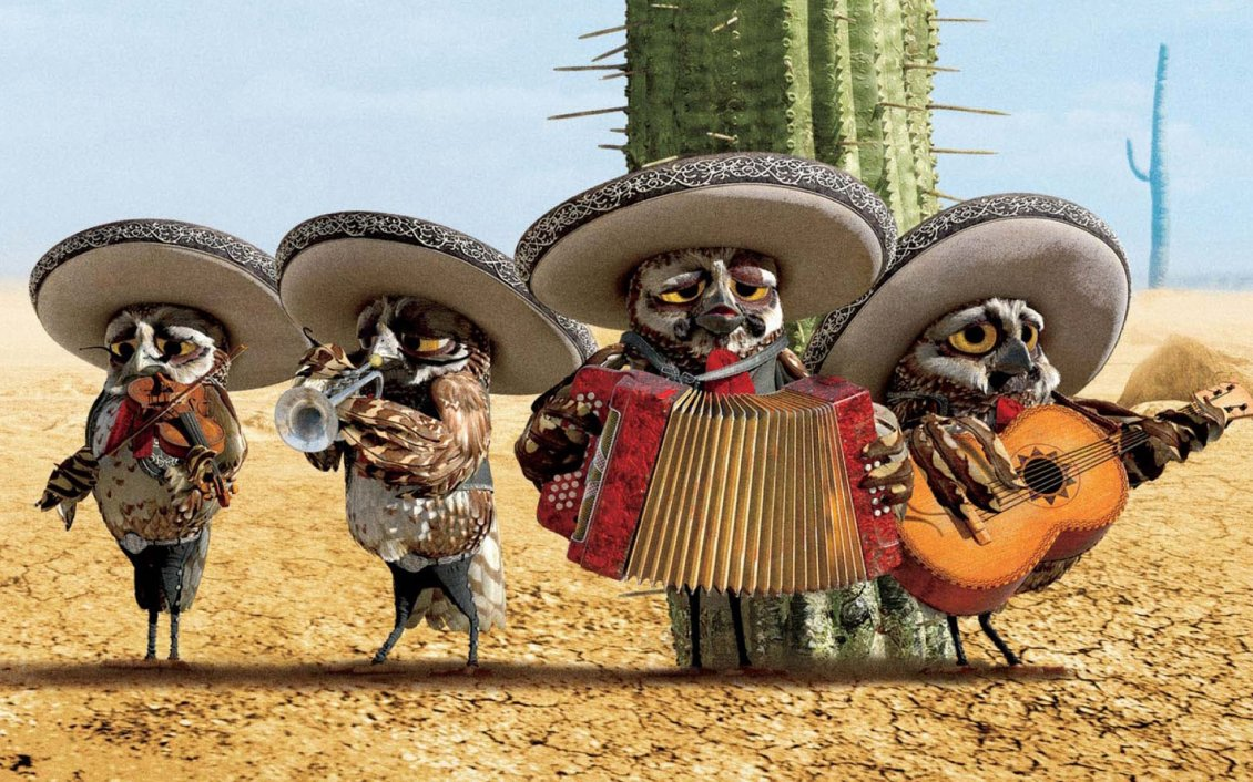 Download Wallpaper Rango movie - Four owls in a band in the desert