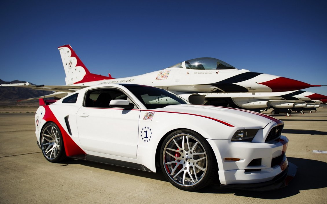 Download Wallpaper White and red Ford Mustang GT on the airport