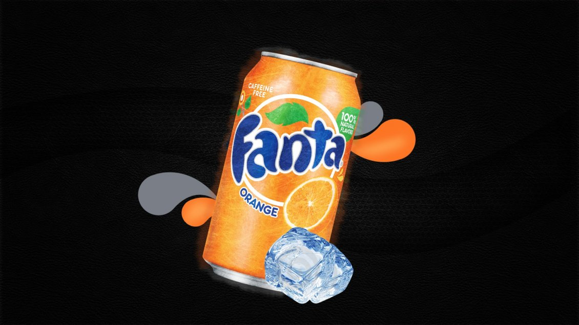 Download Wallpaper A dose of fanta juice and two cubes of ice