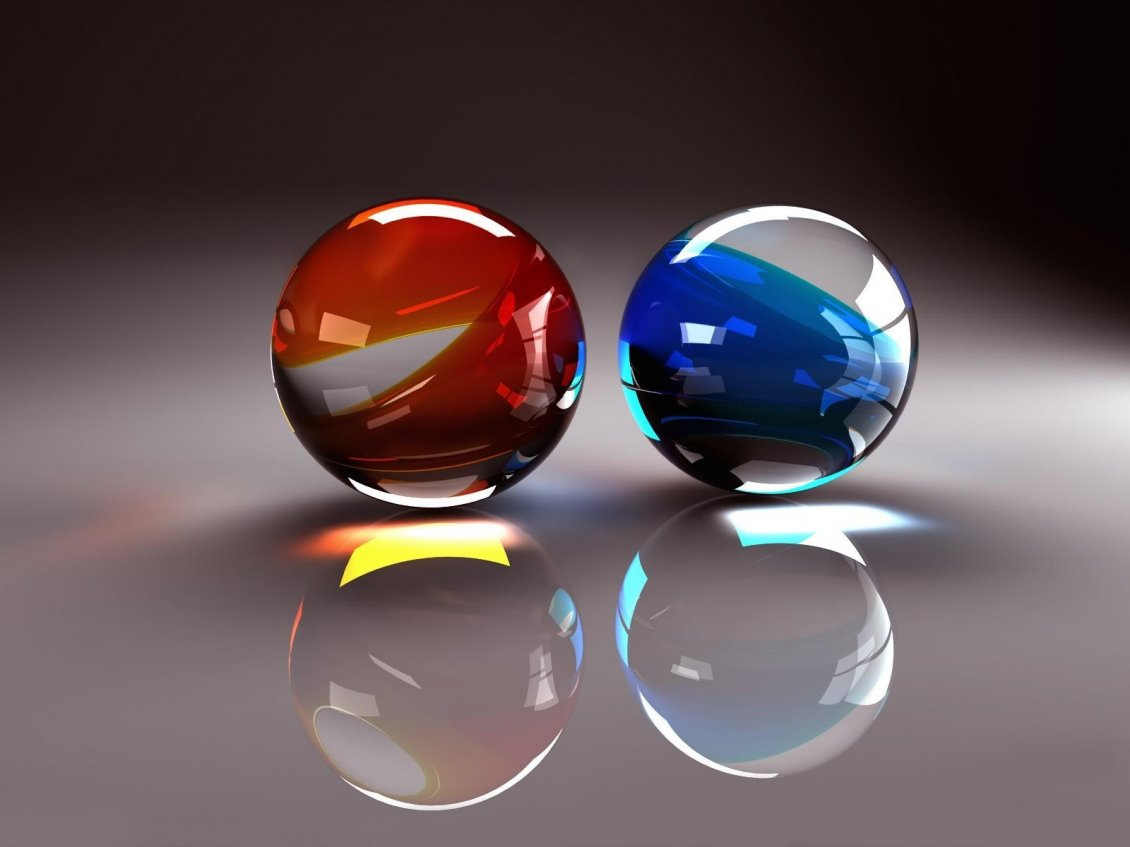 Download Wallpaper 3D two balls from glass - red and blue balls
