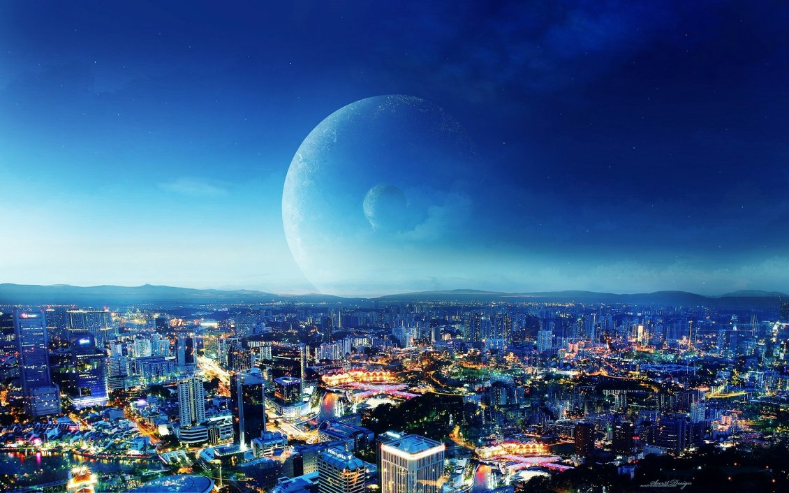 Download Wallpaper Lights in the City - Fantasy Night