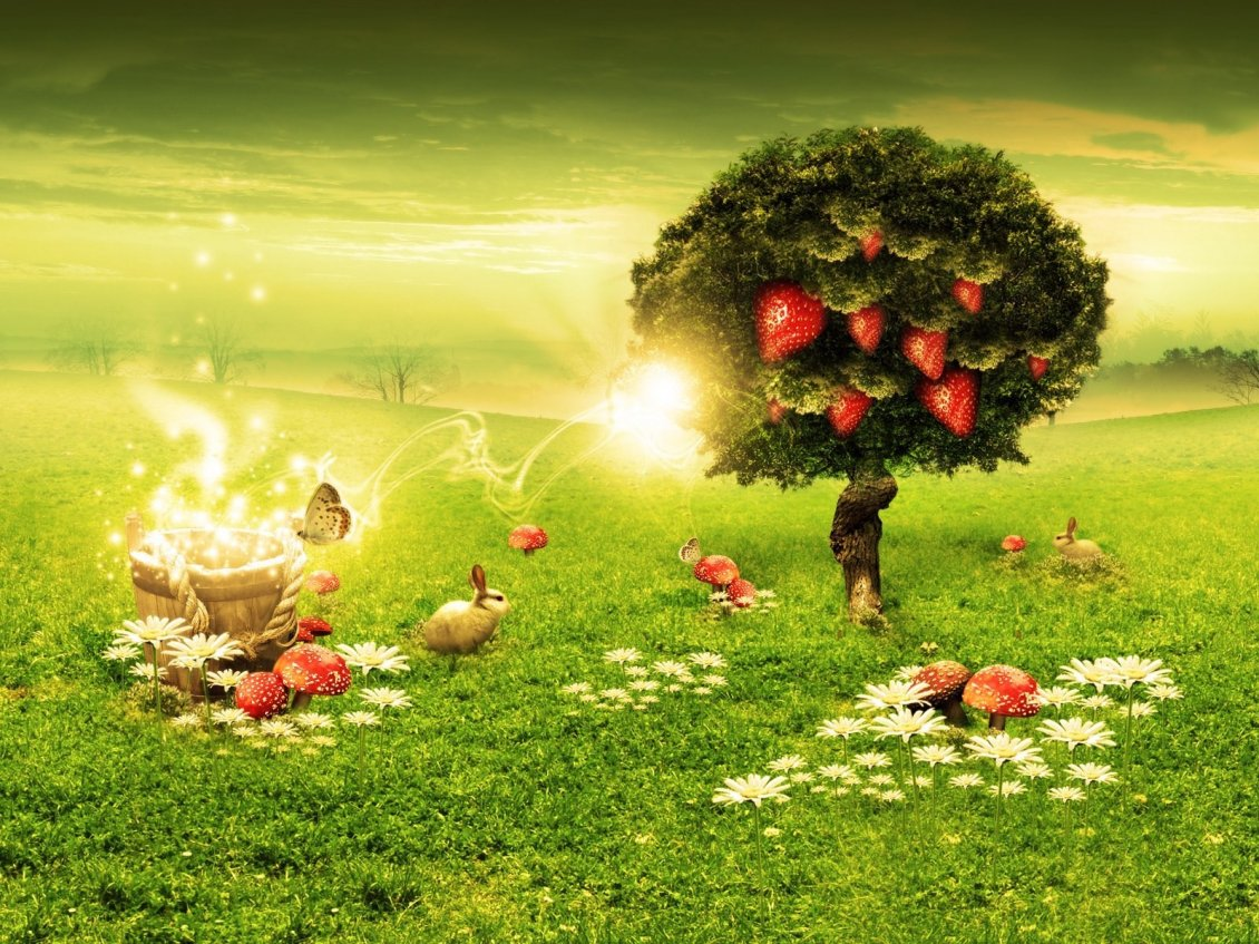 Download Wallpaper Strawberries in the tree - Creative green gaden