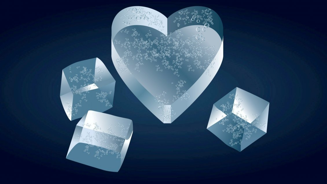 Download Wallpaper Ice heart and ice cubes - Artistic wallpaper