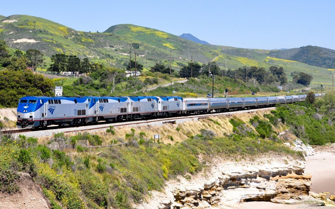 Download Wallpaper Gray and blue train on foothills