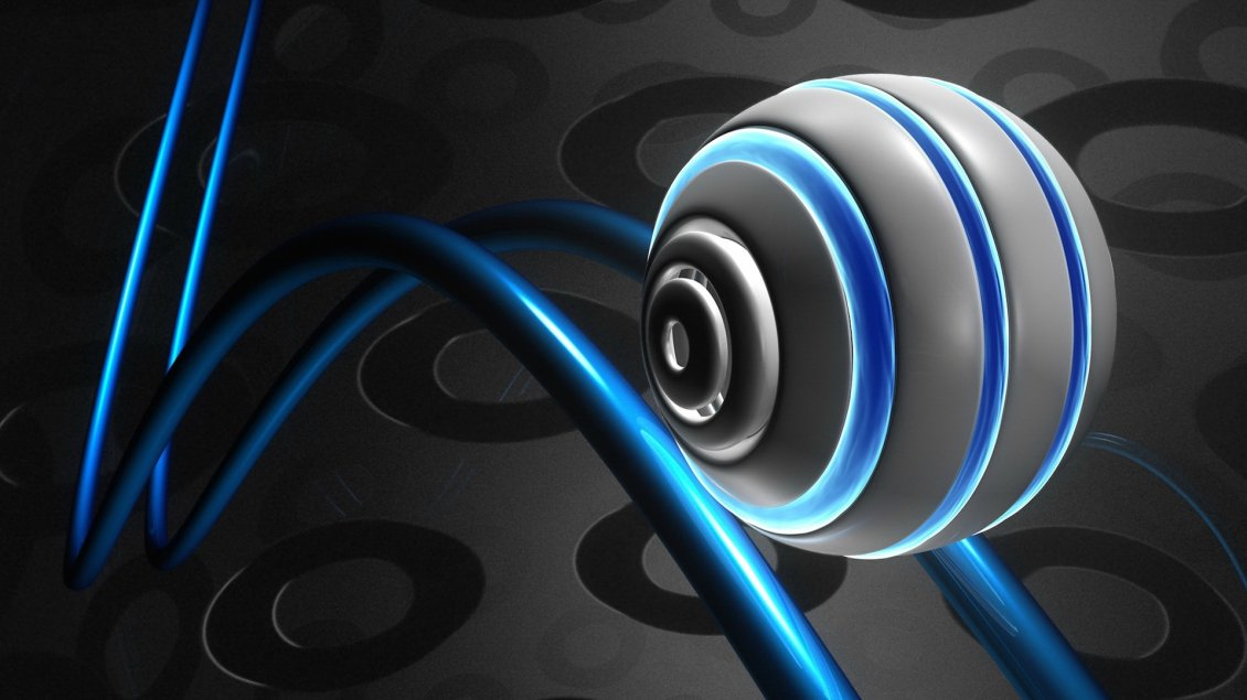 Download Wallpaper Gray ball with blue lights - 3D and HD