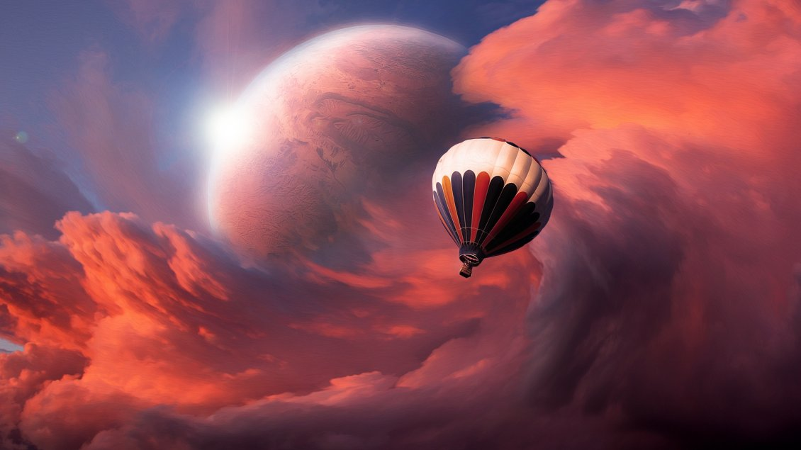 Download Wallpaper A balloon flying in the sky with interesting clouds
