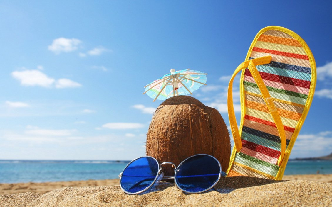 Download Wallpaper Coconut, glasses and beach slipper in the sand