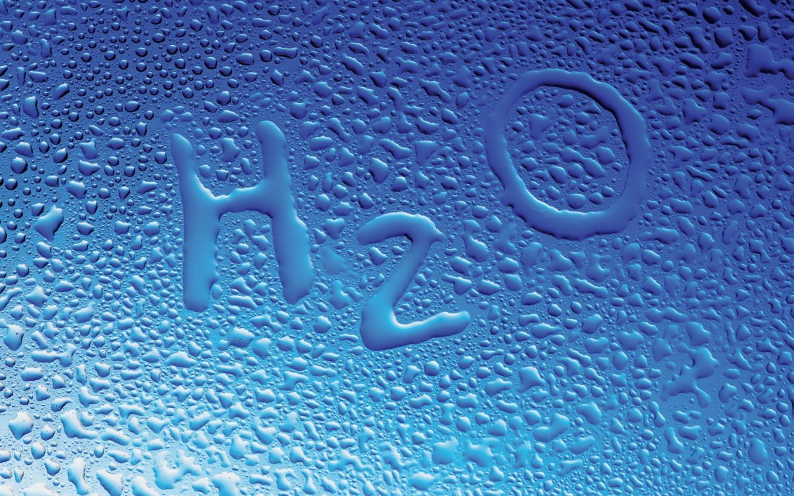 Water Drops And Chemical Symbol For Water