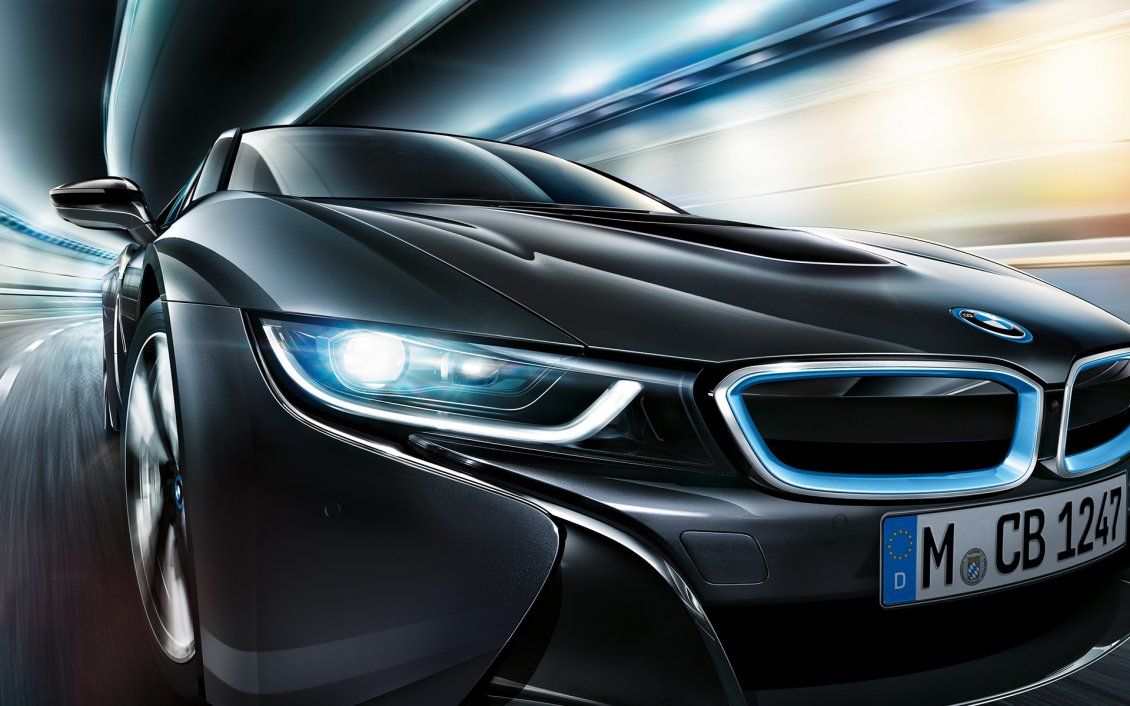 Download Wallpaper Black BMW I8 on the road - BMW wallpaper