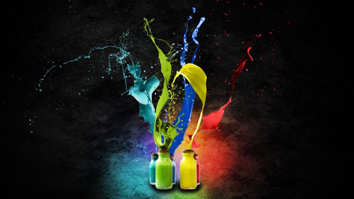 Download Wallpaper Explosion of colors from bottles - Art and Design wallpaper