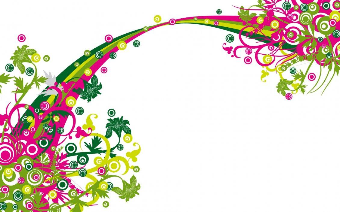 Pink And Green Vector Design Wallpaper