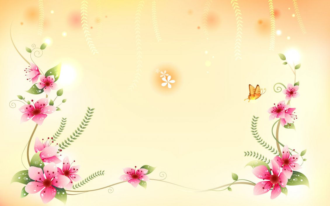 Beach Ford Service >> Beautiful pink flowers and a yellow butterfly