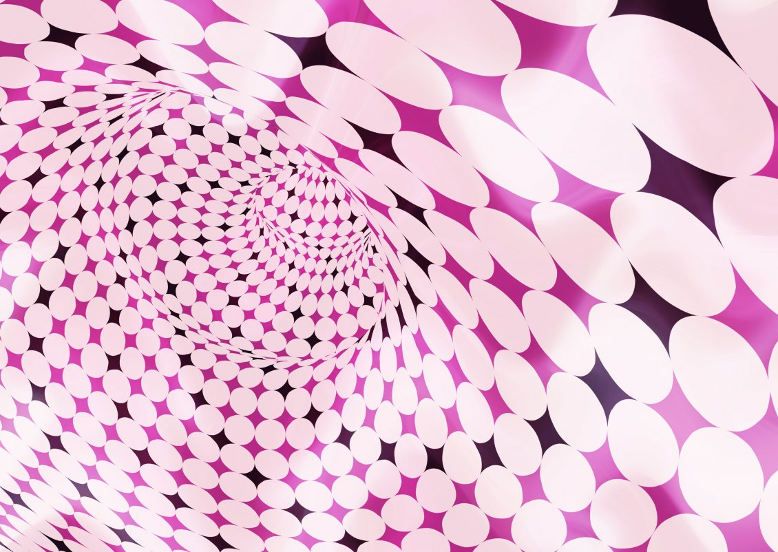 Pink Tunnel With White Bubbles