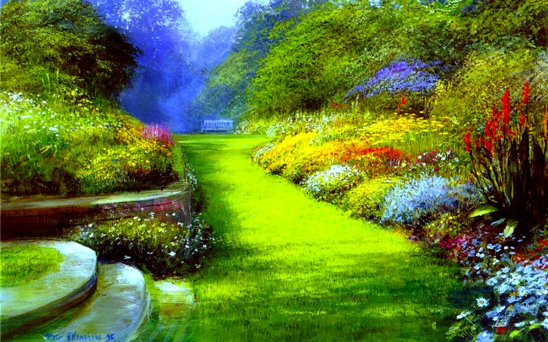 Download Wallpaper A park with many greenery and flowers