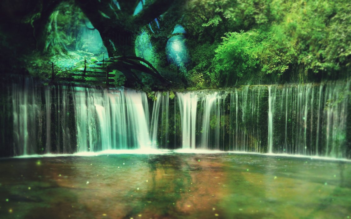 Download Wallpaper A largest waterfall in the forest - Fantasy place