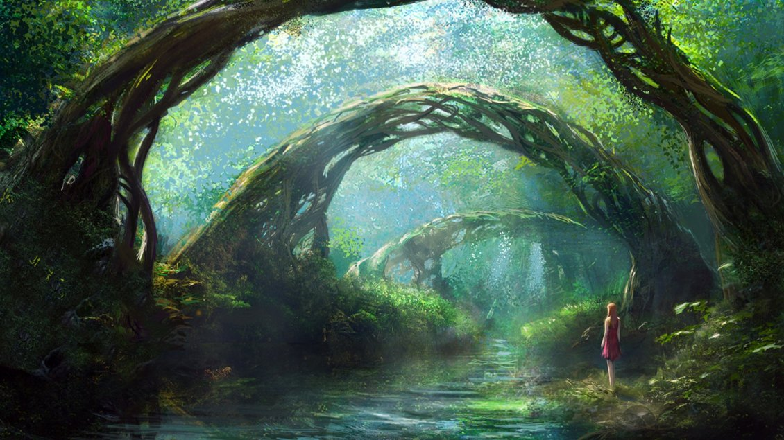 Download Wallpaper A girl in fantasy forest - HD wallpaper