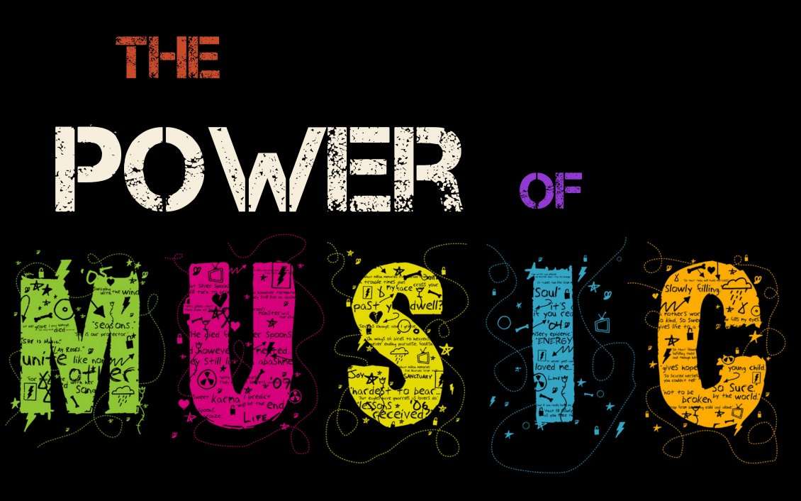 Download Wallpaper The power of music on a black background