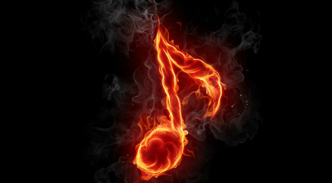 Download Wallpaper A musical note in flames on the black background