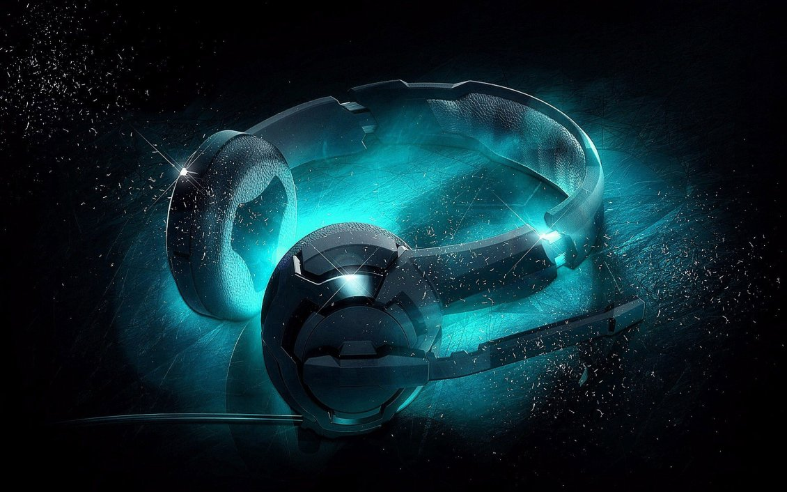 Download Wallpaper 3D headphones wallpaper - Fluorescent blue light