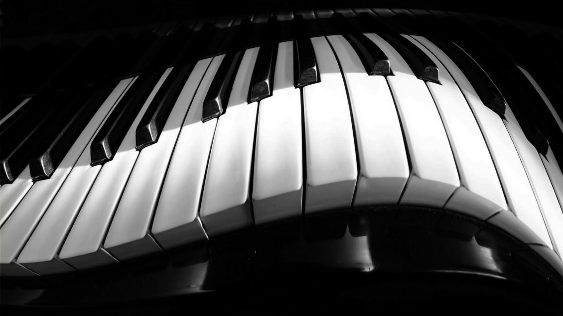 Download Wallpaper A curved piano - White and black HD wallpaper