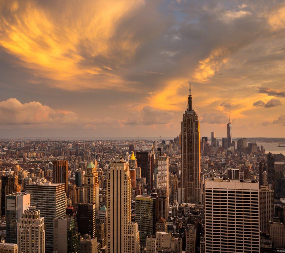 Manhattan New: Sunset Over The Manhattan, New York