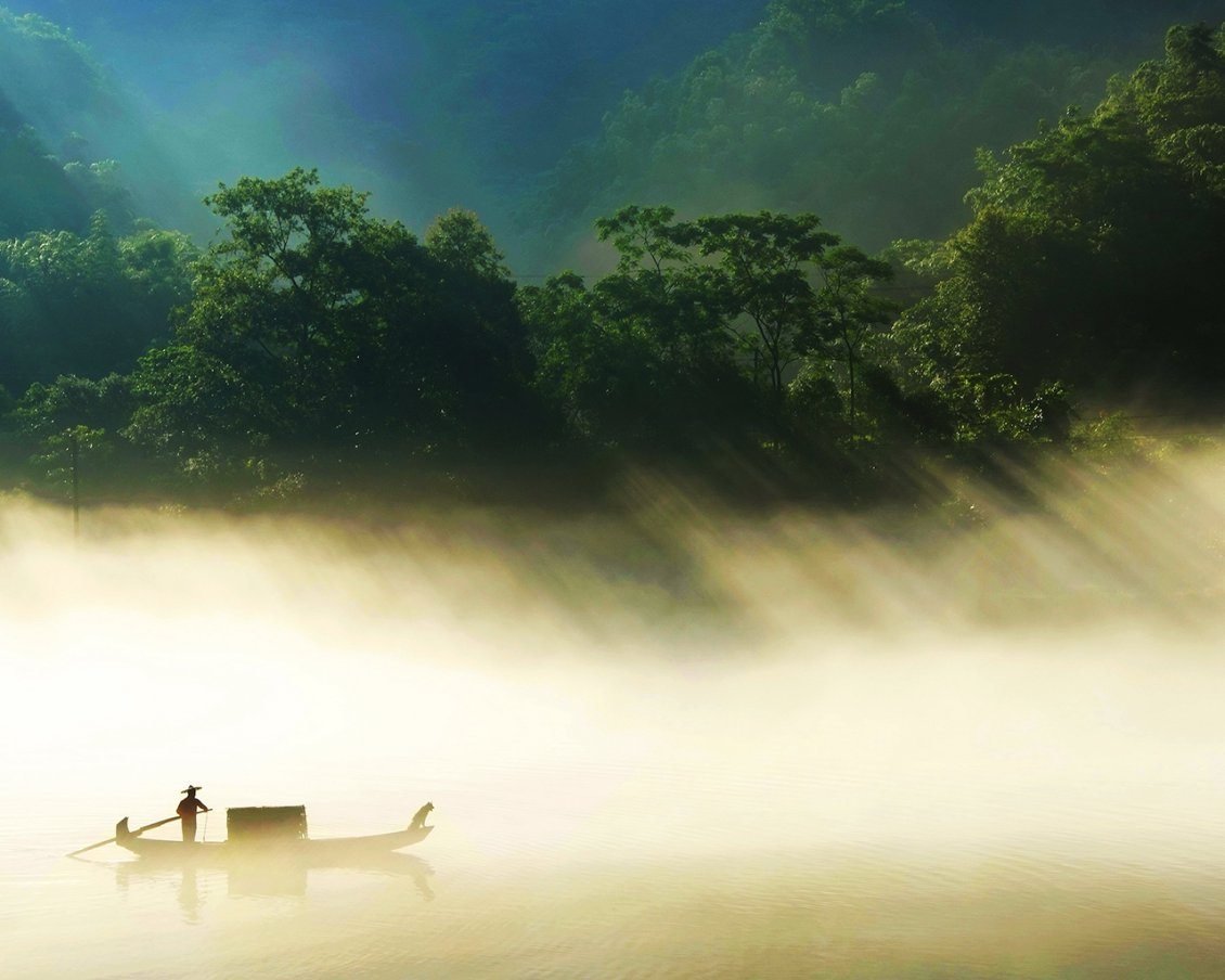Download Wallpaper A man and his dog with boat on the river in the sunlight