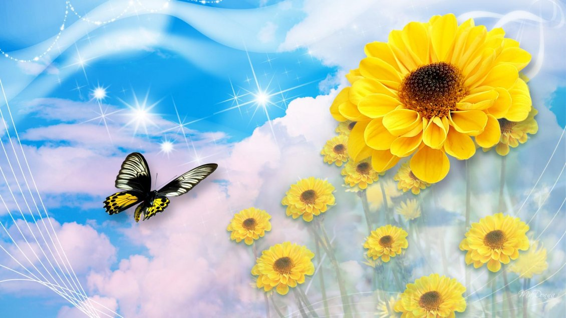 Download Wallpaper Digital wallpaper - butterfly and sunflowers