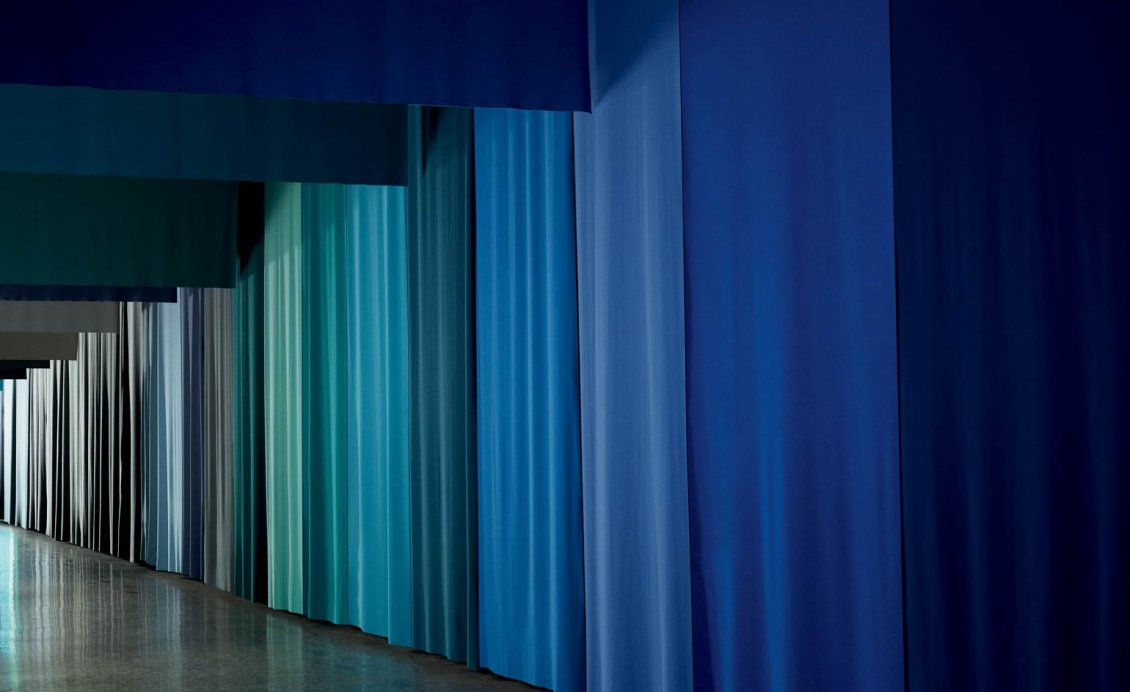 curtains in different shades of blue
