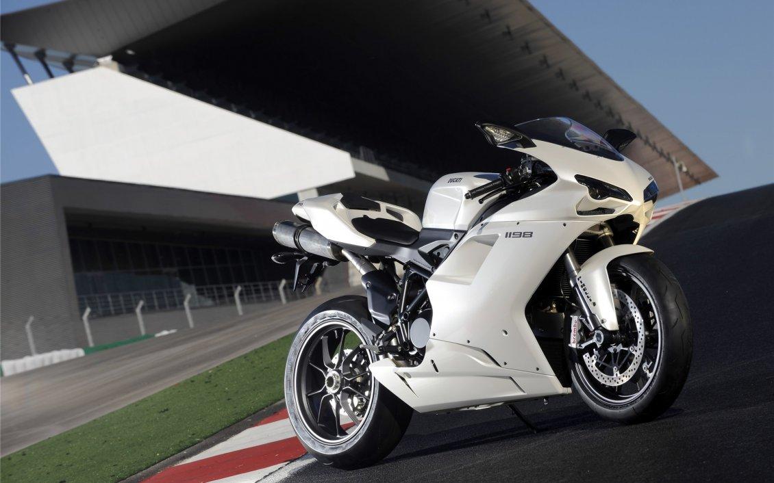 White Ducati Sport Bike Hd Wallpaper