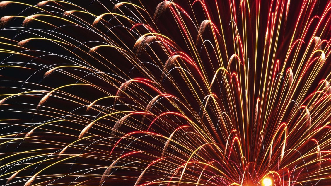Download Wallpaper Bright red and golden fireworks in the night