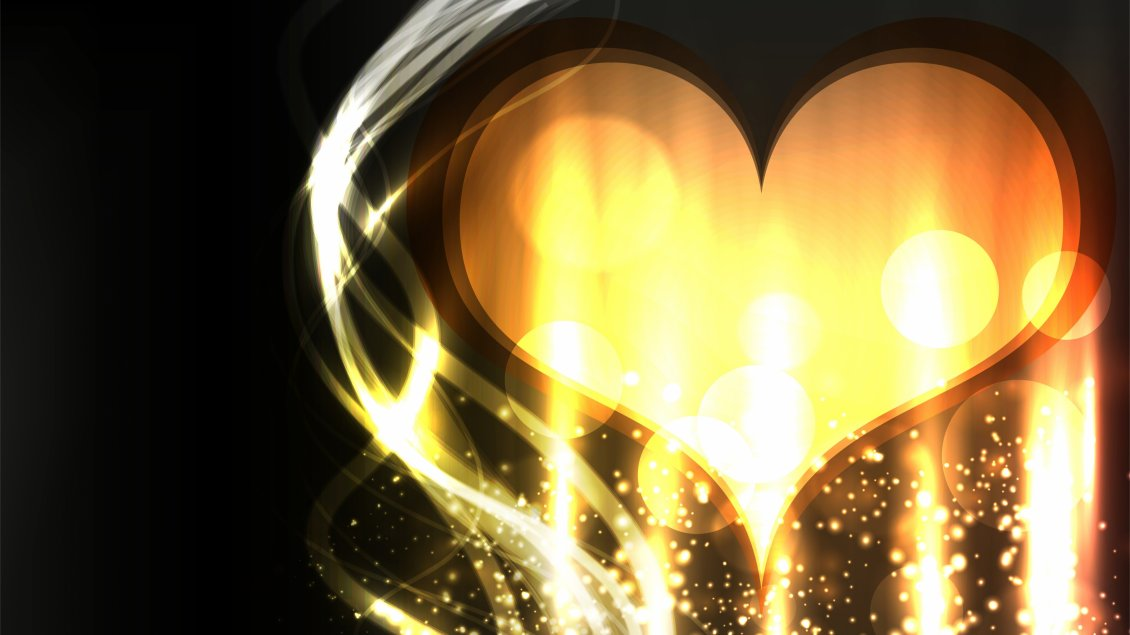 Download Wallpaper A golden heart with many lights around